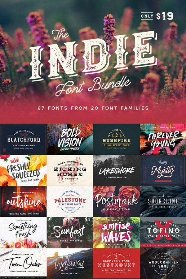 67 Fonts: Indie Font Bundle From TheHungryJpeg